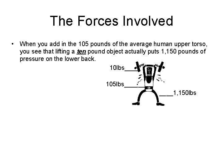 The Forces Involved • When you add in the 105 pounds of the average