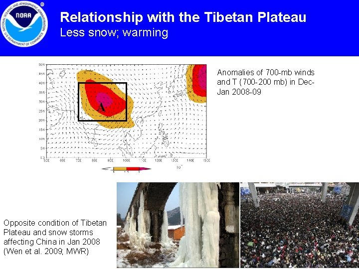Relationship with the Tibetan Plateau Less snow; warming Anomalies of 700 -mb winds and