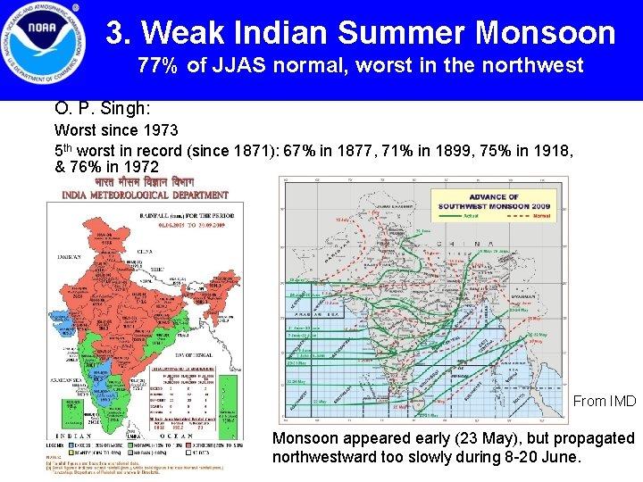 3. Weak Indian Summer Monsoon 77% of JJAS normal, worst in the northwest O.