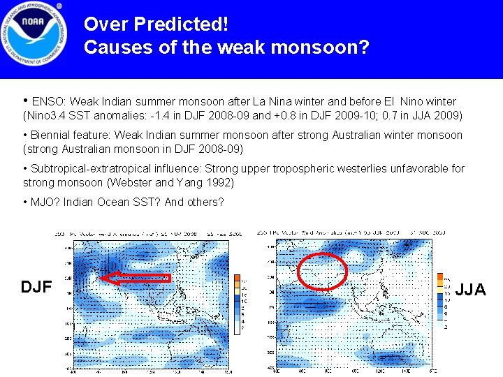 Over Predicted! Causes of the weak monsoon? • ENSO: Weak Indian summer monsoon after