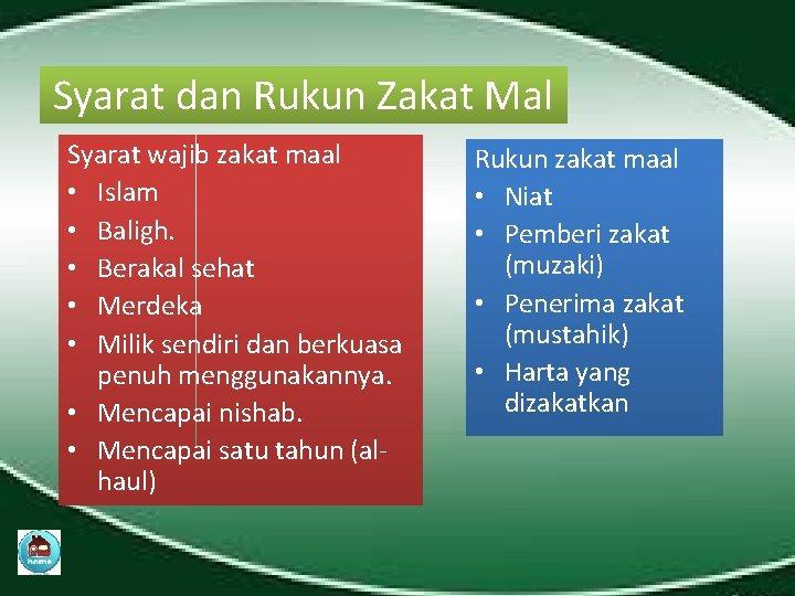 Syarat dan Rukun Zakat Mal Syarat wajib zakat maal • Islam • Baligh. •