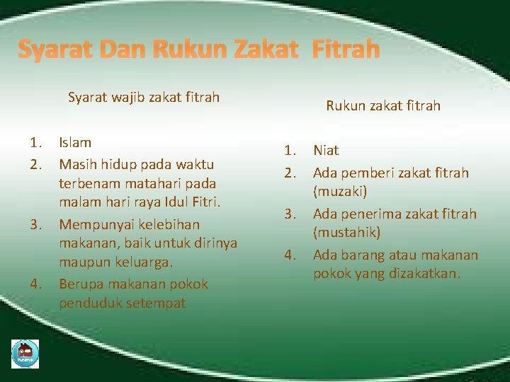 Syarat Dan Rukun Zakat Fitrah Syarat wajib zakat fitrah 1. 2. 3. 4. Islam