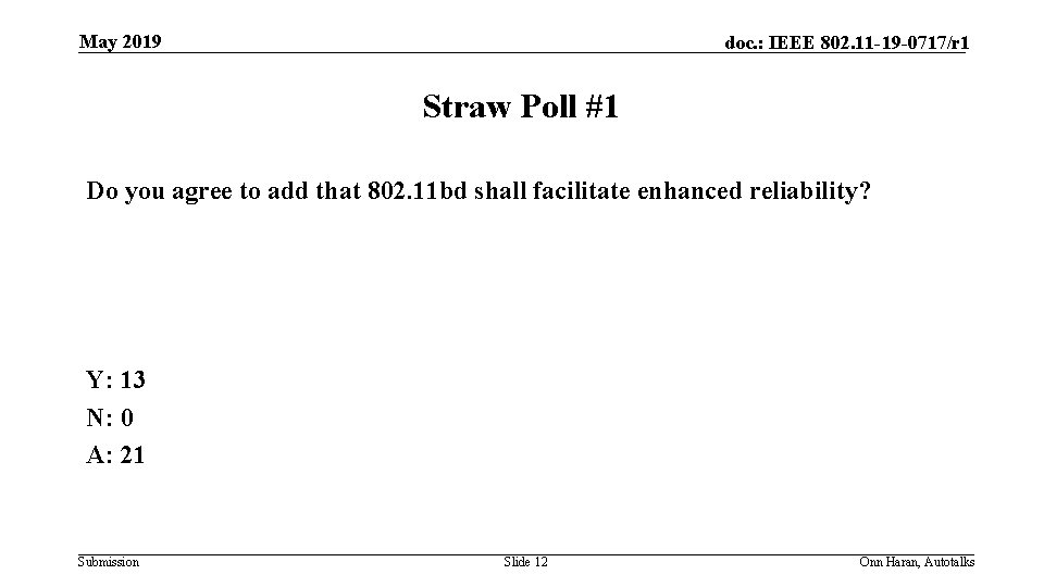 May 2019 doc. : IEEE 802. 11 -19 -0717/r 1 Straw Poll #1 Do