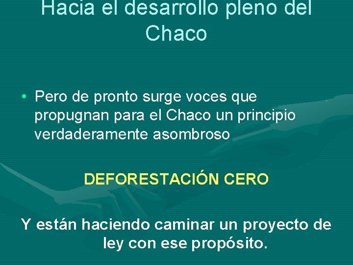Hacia el desarrollo pleno del Chaco • Pero de pronto surge voces que propugnan