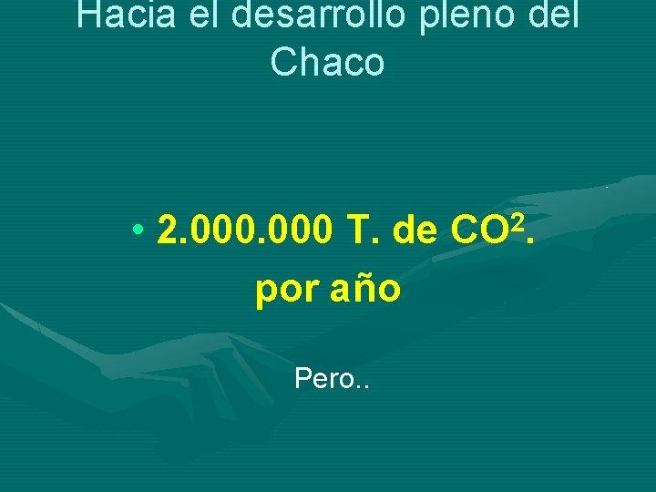Hacia el desarrollo pleno del Chaco • 2. 000 T. de CO 2. por