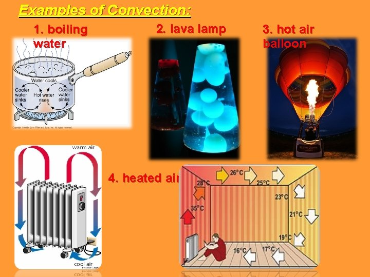 Examples of Convection: 1. boiling water 2. lava lamp 4. heated air 3. hot