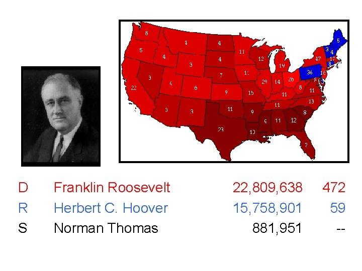 1932 531 D R S Franklin Roosevelt Herbert C. Hoover Norman Thomas 22, 809,