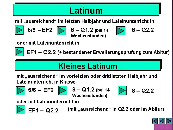 """Latinum mit """"ausreichend"""" im letzten Halbjahr und Lateinunterricht in 5/6 – EF 2 8"""