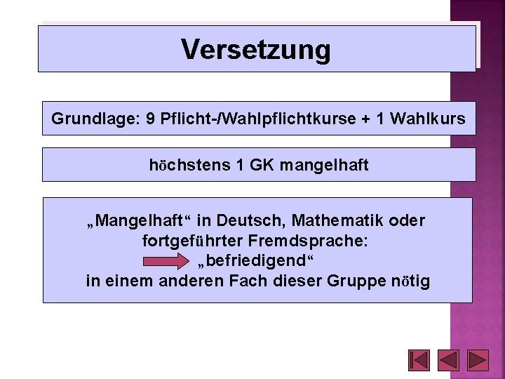 """Versetzung Grundlage: 9 Pflicht-/Wahlpflichtkurse + 1 Wahlkurs höchstens 1 GK mangelhaft """"Mangelhaft"""" in Deutsch,"""