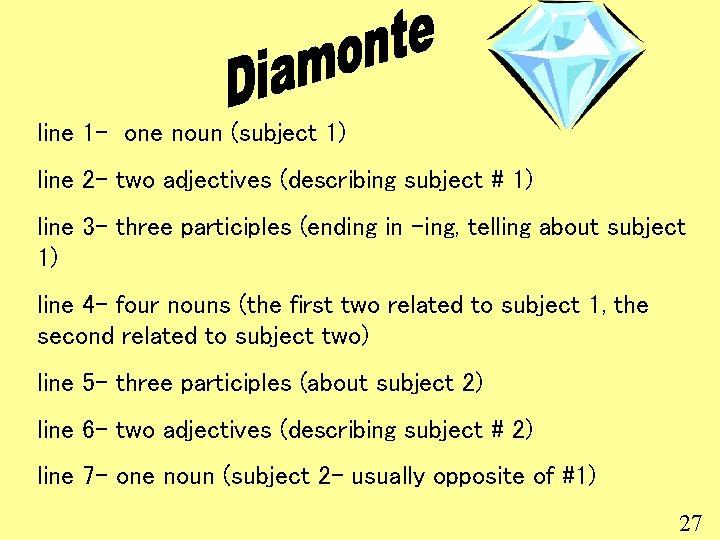 line 1 - one noun (subject 1) line 2 - two adjectives (describing subject