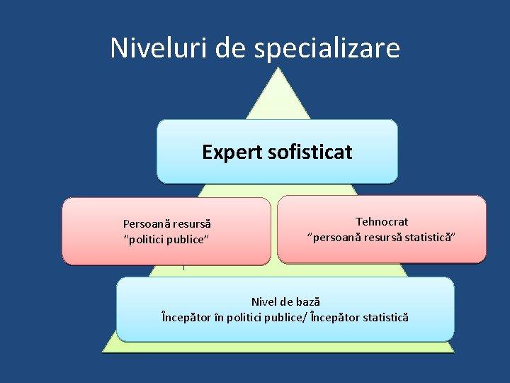 """Niveluri de specializare Expert sofisticat Persoană resursă """"politici publice"""" Tehnocrat """"persoană resursă statistică"""" Nivel"""