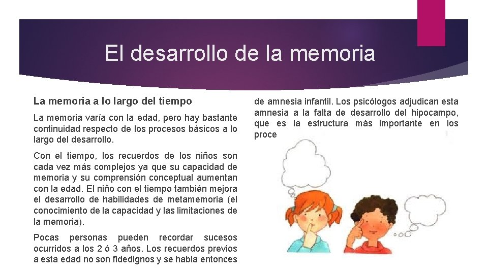 El desarrollo de la memoria La memoria a lo largo del tiempo La