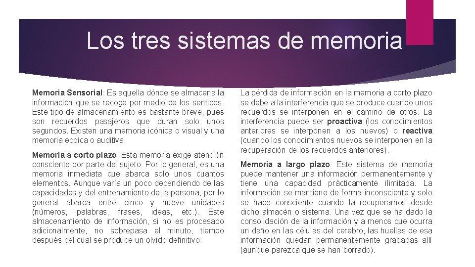 Los tres sistemas de memoria Memoria Sensorial: Es aquella dónde se almacena la información