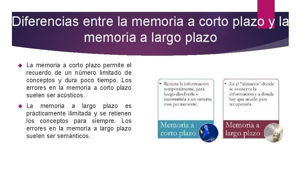 Diferencias entre la memoria a corto plazo y la memoria a largo plazo La