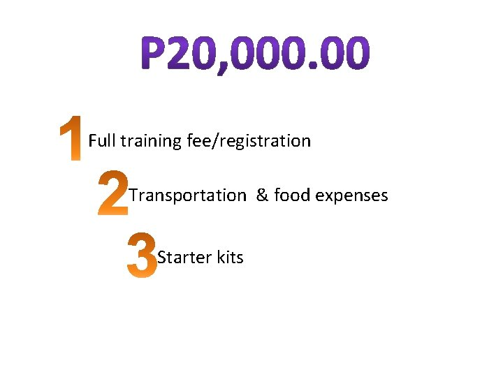 Full training fee/registration Transportation & food expenses Starter kits
