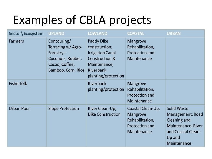 Examples of CBLA projects