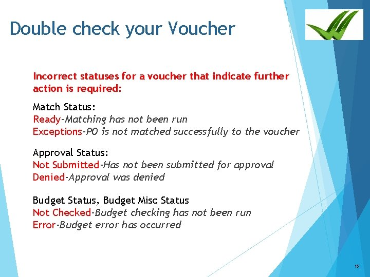 Double check your Voucher Incorrect statuses for a voucher that indicate further action is
