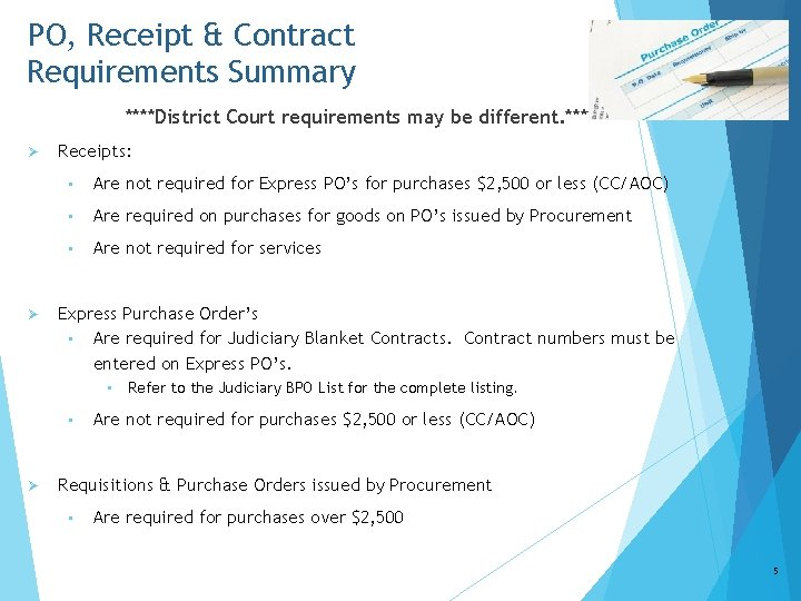 PO, Receipt & Contract Requirements Summary ****District Court requirements may be different. **** Ø