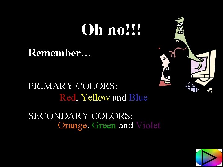 Oh no!!! Remember… PRIMARY COLORS: Red, Yellow and Blue SECONDARY COLORS: Orange, Green and
