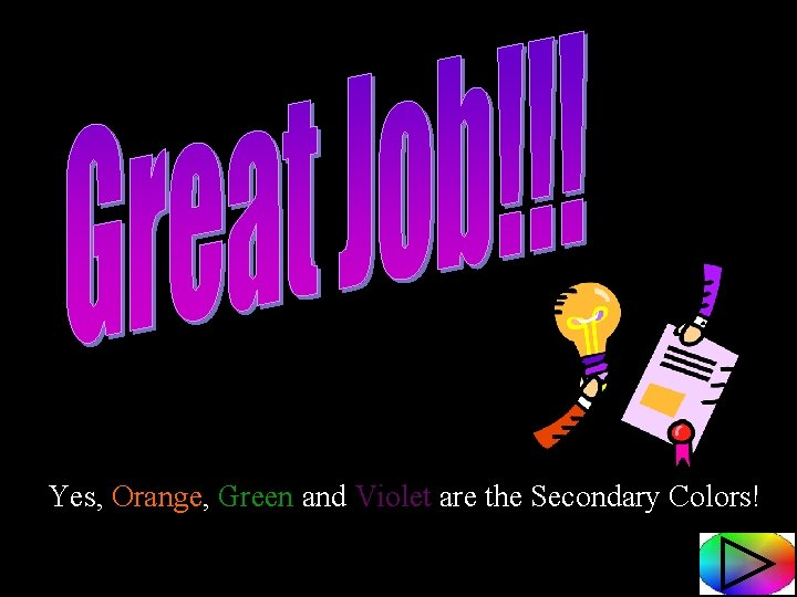 Yes, Orange, Green and Violet are the Secondary Colors!