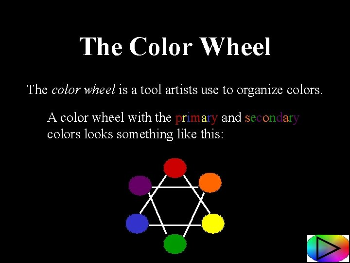 The Color Wheel The color wheel is a tool artists use to organize colors.