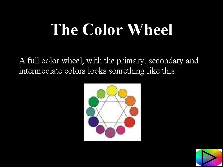 The Color Wheel A full color wheel, with the primary, secondary and intermediate colors