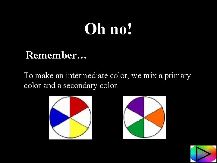 Oh no! Remember… To make an intermediate color, we mix a primary color and