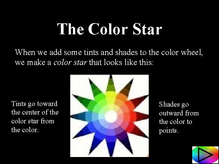 The Color Star When we add some tints and shades to the color wheel,