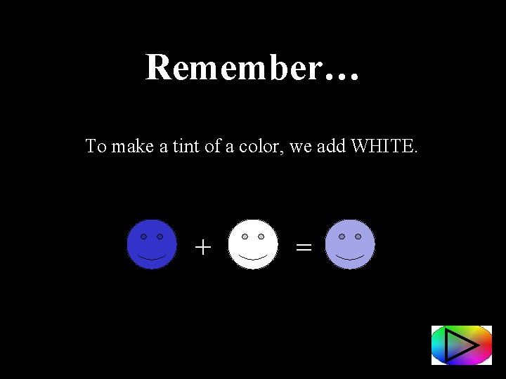 Remember… To make a tint of a color, we add WHITE. + =