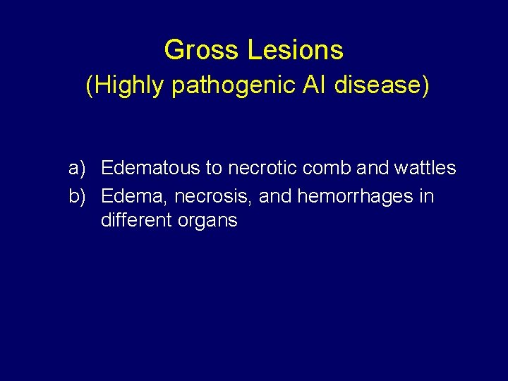 Gross Lesions (Highly pathogenic AI disease) a) Edematous to necrotic comb and wattles b)