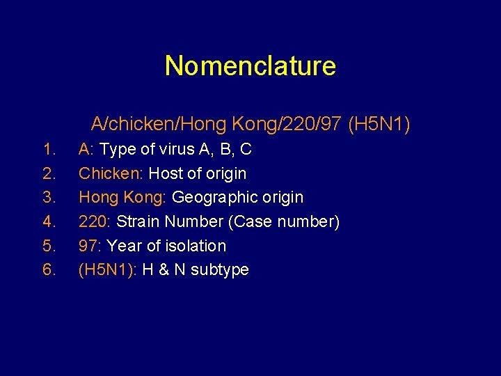 Nomenclature A/chicken/Hong Kong/220/97 (H 5 N 1) 1. 2. 3. 4. 5. 6. A: