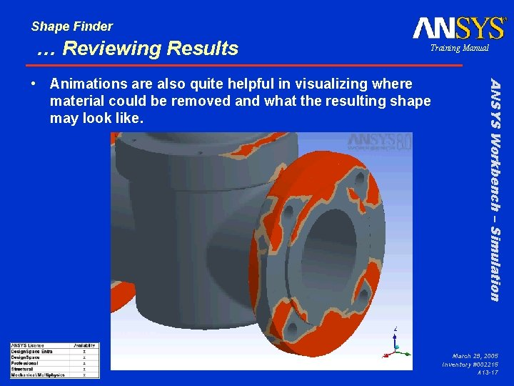 Shape Finder … Reviewing Results Training Manual ANSYS Workbench – Simulation • Animations are