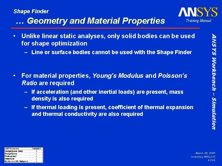 Shape Finder … Geometry and Material Properties Training Manual – Line or surface bodies
