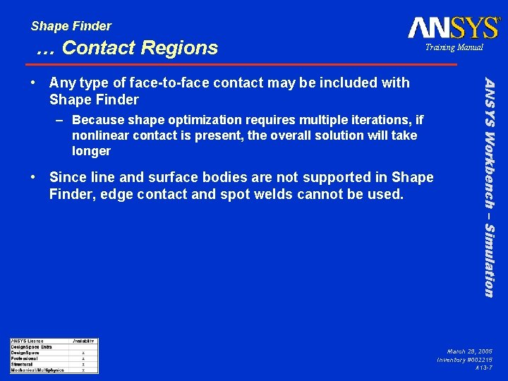 Shape Finder … Contact Regions Training Manual – Because shape optimization requires multiple iterations,