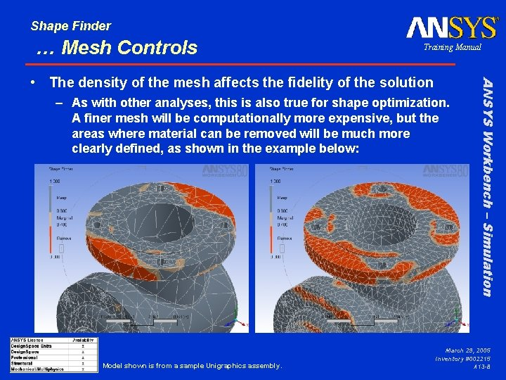 Shape Finder … Mesh Controls Training Manual – As with other analyses, this is