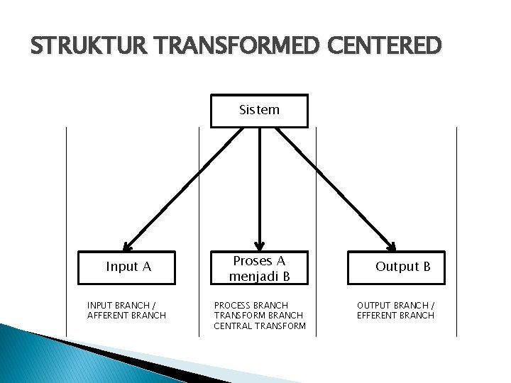 STRUKTUR TRANSFORMED CENTERED Sistem Input A INPUT BRANCH / AFFERENT BRANCH Proses A menjadi