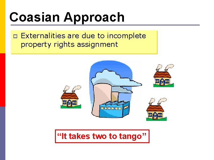 """Coasian Approach p Externalities are due to incomplete property rights assignment """"It takes two"""