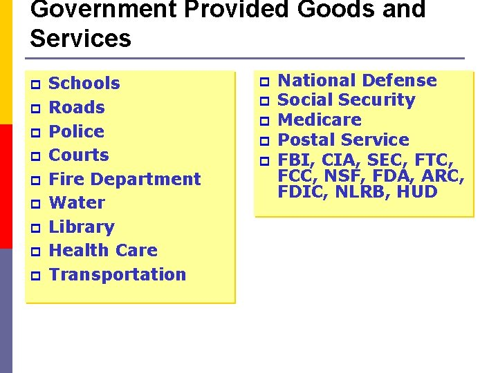 Government Provided Goods and Services p p p p p Schools Roads Police Courts