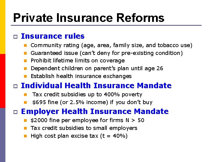 Private Insurance Reforms p Insurance rules n Community rating (age, area, family size, and