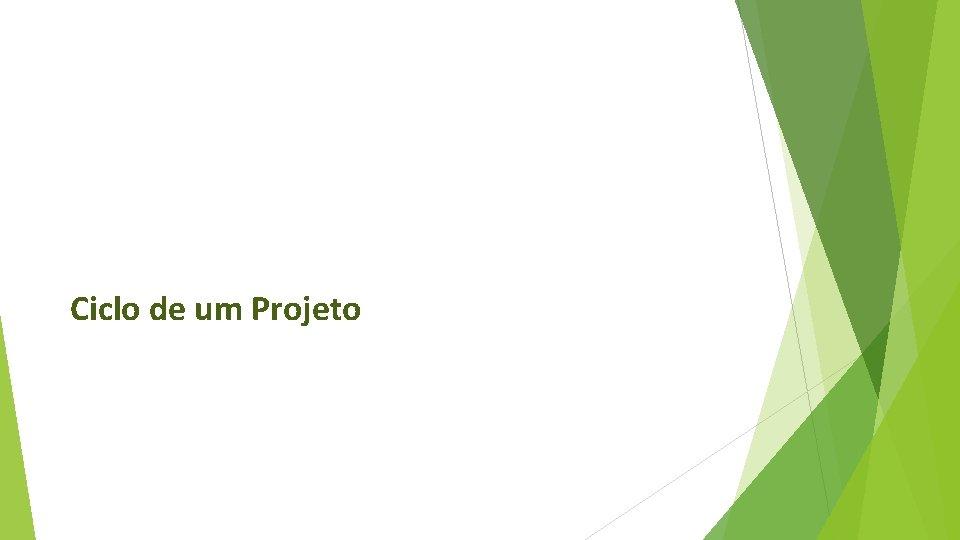 Ciclo de um Projeto