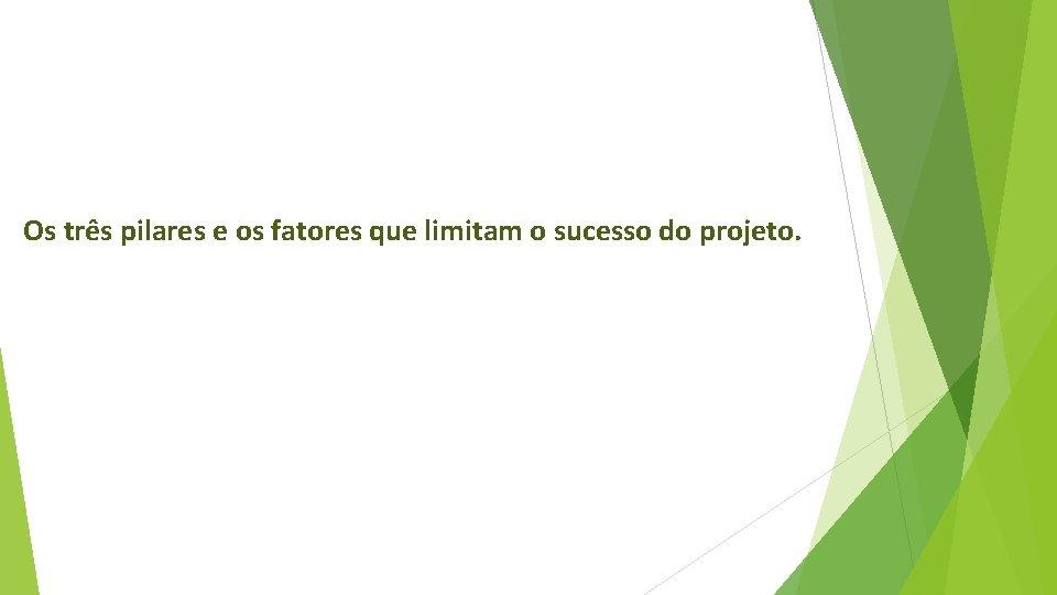Os três pilares e os fatores que limitam o sucesso do projeto.