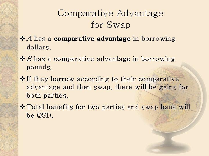 Comparative Advantage for Swap v A has a comparative advantage in borrowing dollars. v