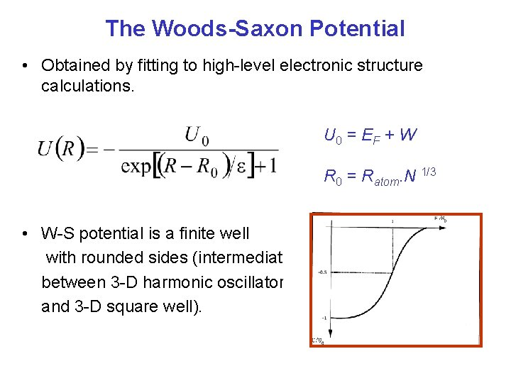 The Woods-Saxon Potential • Obtained by fitting to high-level electronic structure calculations. U 0