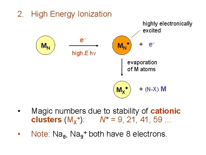 2. High Energy Ionization highly electronically excited MN e high E h MN +