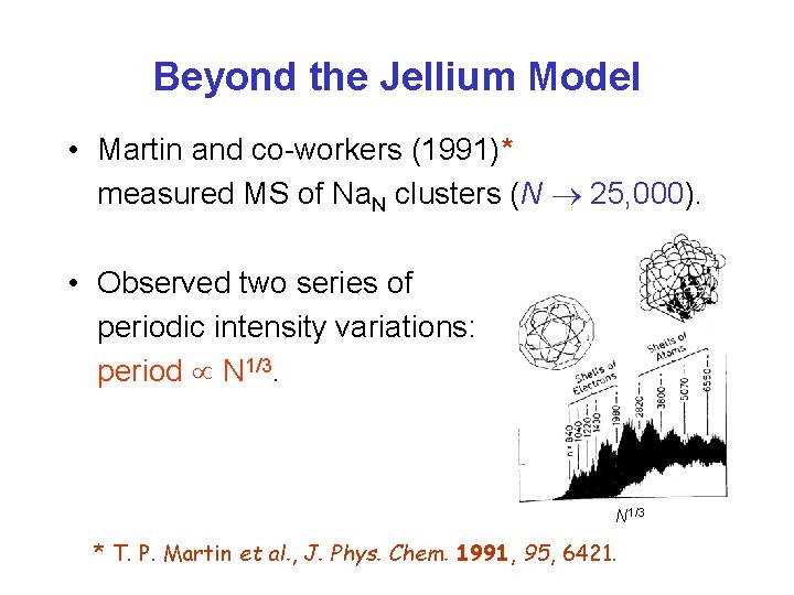 Beyond the Jellium Model • Martin and co-workers (1991)* measured MS of Na. N