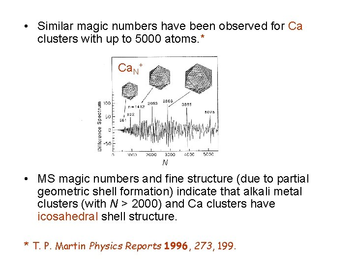• Similar magic numbers have been observed for Ca clusters with up to
