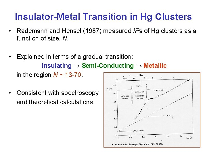 Insulator-Metal Transition in Hg Clusters • Rademann and Hensel (1987) measured IPs of Hg