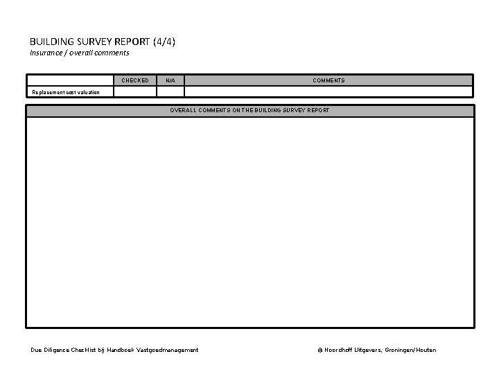 BUILDING SURVEY REPORT (4/4) Insurance / overall comments CHECKED N/A COMMENTS Replacement cost valuation