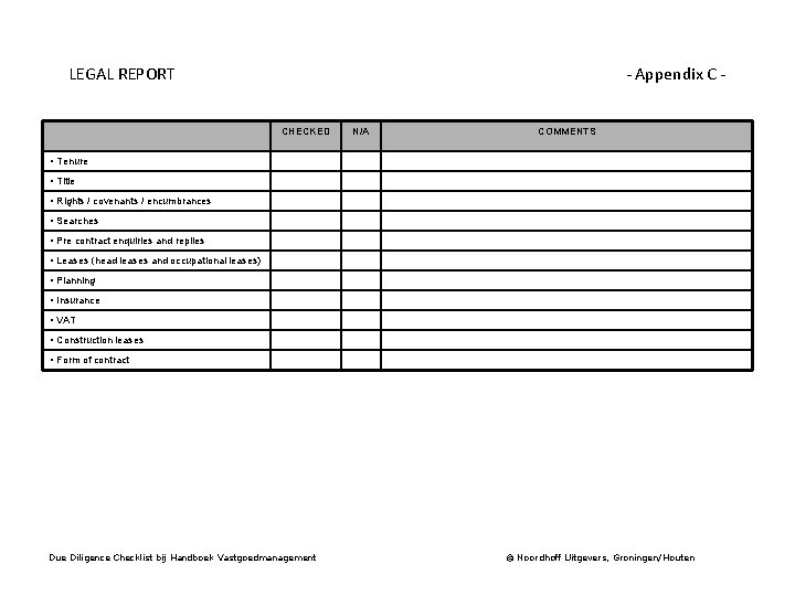 LEGAL REPORT - Appendix C CHECKED N/A COMMENTS • Tenure • Title • Rights