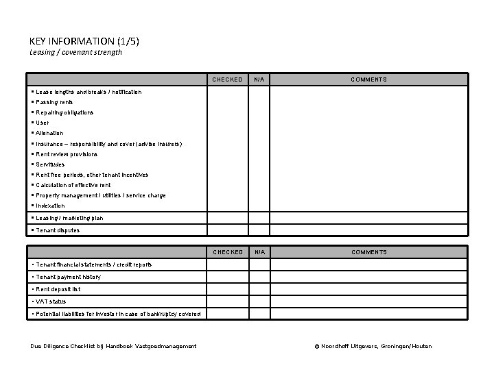 KEY INFORMATION (1/5) Leasing / covenant strength CHECKED N/A COMMENTS § Lease lengths and